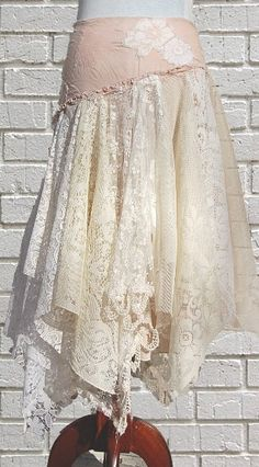 Tattered Lace Fairy Woodland Skirt, White and Cream, Hippie, Boho, Gypsy, Funky, Upcycled Clothing. $68.00, via Etsy.