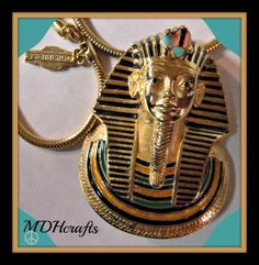 SOLD Vintage-Eisenberg-Egyptian-King-Tut-Pendant-Gold-Necklace-Costume-Jewelry-1970