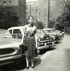 """Billie dressed in """"Greenwich Village apparel,"""" circa Her belt, sandals and purse were all handmade. Stuyvesant Town, Little Italy New York, Bleecker Street, 1950s Outfits, Ny Ny, Beatnik, East Village, Urban Life, West Side Story"""