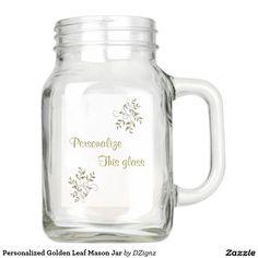 Personalized Golden Leaf Mason Jar