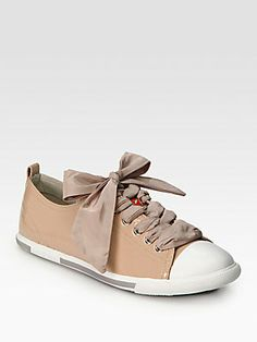 #Ribbons - #Prada Patent Leather Ribbon Lace-Up Sneakers
