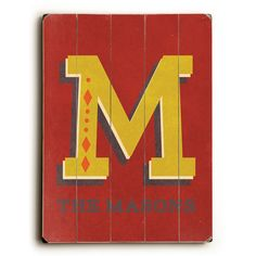 Personalized Alphabet - Letter M Wood Sign by Artist Rebecca Peragine