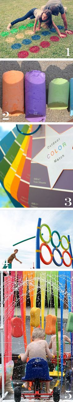 awesome ideas for kids outdoor activities summer chalk twister sprinklers  paint chip projects. I would do the paint chip walk with the kids. It would slow them down and make them see the beauty