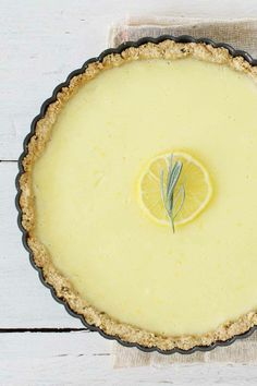 ~ Creamy Lemon Tart with Rosemary Crust ~