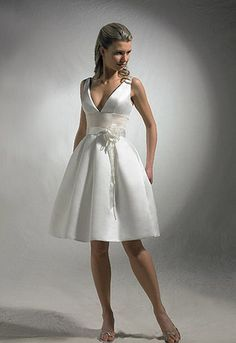 short wedding dresses v neck type