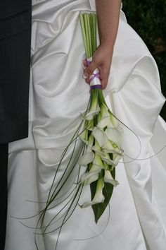 Minature Calla Lilys with Bear Grass and Tai leaf as Back drop Pretty and Classy<br> Lily Bouquet Wedding, Calla Lily Bouquet, Hand Bouquet, Calla Lillies, Bride Bouquets, Floral Wedding, Calla Lily Boutonniere, Bridal Flowers, Floral Arrangements