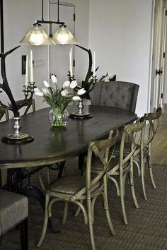 Marie Burgos: Marie Burgos Design - The dining room elements: industrial fabric jute bags framed wall ...