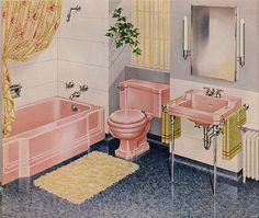 Pink bathroom suite, this would be my dream bathroom. Orange Bathroom Accessories, Mid Century Modern Bathroom, Towel Rack Bathroom, Towel Racks, Pink Baths, Vintage Room, Vintage Homes, Vintage Bathrooms, Vintage Interiors