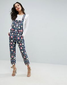 Obsassseeeddd. Needle and Thread floral embroidered dungarees. #overalls #floral