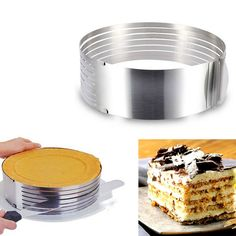 Stainless Steel DIY Mousse Cake Mould Slicing Adjustable Retractable Circular Ring Cake Layered Slicer Baking Tool