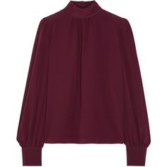 Marc Jacobs Silk crepe de chine blouse found on Polyvore featuring tops, blouses, sleeve blouse, ruched blouse, purple blouse, blouson blouse and rouched top