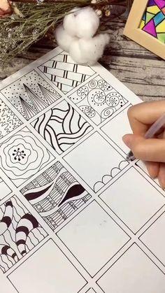Easy Doodle Art, Doodle Art Designs, Doodle Patterns, Zentangle Patterns, Doodle Art Drawing, Zentangle Drawings, Mandala Drawing, Zentangles, Art Drawings Sketches Simple