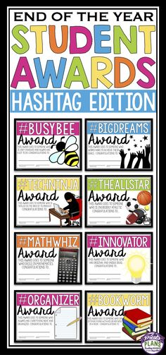 End your school year by giving your students these 30 ready-to-print awards! Each of the award titles include a hashtag. An explanation for why the student is receiving the award (related to the hashtag) is also included on the certificate. All you have to do is print, sign/date, and you are done!