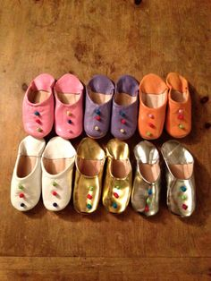 Items similar to Hand-made baby leather slippers with 3 colorful knots, sizes 1, 2, and 3 on Etsy