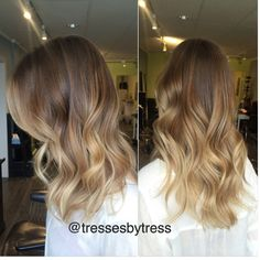 Honey blonde, golden blonde balayaged ombre