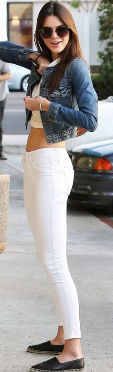 Who made Kendall Jenner's black shoes and blue denim jacket?