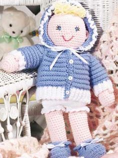 Playtime Baby Doll - Stitch this sweet baby doll and outfit for a special little girl! Doll size: 16 inches tall (appx)  FREE Crochet Pattern