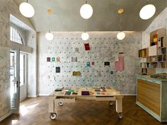 rolling library tables. Papelote, New Czech Stationery / A1Architects