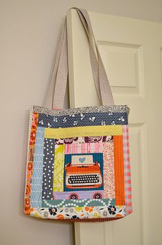 quilt-as-you-go patchwork tote This gives you a 'lined -as-you-go' tote