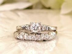 Platinum Engagement Ring Set 0.66ctw Diamond Wedding Ring Set Fishtail Prongs Vintage Engagement Ring Bridal Set Size 7.5!