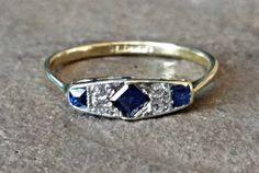Vintage English Art Deco Sapphire 18K Platinum Estate Antique Ring