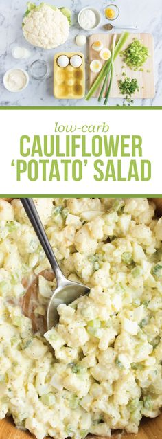 "Trick your taste buds into thinking they're indulging in an American summertime classic, potato salad! The creamy mustardy sauce and crunchy bite of the celery bring this ""potato"" salad together for a (Try Food Healthy Recipes) Cauliflower Potatoes, Cauliflower Recipes, Veggie Recipes, Low Carb Recipes, Vegetarian Recipes, Cooking Recipes, Healthy Recipes, Cauliflower Salad, Healthy Snacks"