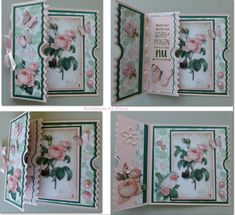 Very pretty card! Bday Cards, Happy Birthday Cards, Fancy Fold Cards, Folded Cards, Ticket Card, Shaped Cards, Marianne Design, Mini Scrapbook Albums, Card Patterns