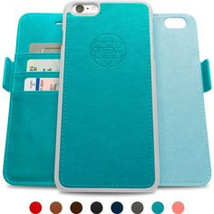 Dreem iPhone 6/6s PLUS Wallet Case with Detachable SlimCase, Fibonacci Luxury Series, Vegan Leather, RFID Protection, 2-Way Stand, Gift Box - Teal