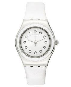 Swatch Watch, Unisex Swiss Plummy White White Leather Strap 34mmYSS277 - Swatch - Jewelry & Watches - Macy's