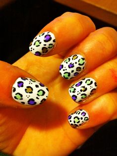mint green, purple and gold leopard. own design