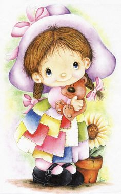 Adorable-Coat of many colors Tole Painting, Fabric Painting, Arte Country, Pintura Country, Cute Clipart, Country Paintings, Holly Hobbie, Children Images, Digi Stamps