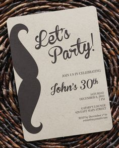 Birthday Invitation For Men Or Boys Guys Mustache Party Size 5x7 Set