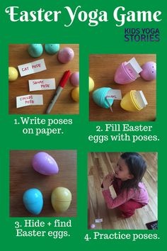Along with your fun Easter activities, why not add movement to your celebrations with these twelve Easter yoga poses for kids + Easter yoga game! Kids Yoga Poses, Cool Yoga Poses, Yoga For Kids, Exercise For Kids, 4 Kids, Yoga Inspiration, Yoga Meditation, Yoga Games, Baby Yoga