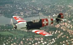 A Swiss Messerschmitt Neutral Switzerland operated many Bf during and after World War II. Ww2 Aircraft, Fighter Aircraft, Military Aircraft, Fighter Jets, Luftwaffe, Swiss Air, Aircraft Painting, Pilot, Ww2 Planes