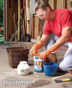 Greasy garage on pinterest garage garage organization for Clean oil off concrete