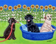 Labrador Painting, Print, Cute and Funny Dog Art, Nursery Art, Labrador artwork -- Pool Fun Labradors 8 x 10 by HappyLabradorsCrew on Etsy