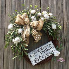 Cotton Wreath, Farmhouse Style Cotton Wreath, Cotton Boll Wreath, Summer Wreath, Year Round Wreath, Rustic Wreath, Front Door Wreath, Wreath by SimplyCharmingWreath