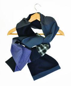 écharpe créateur homme bleu motifs et uni : Echarpes par lefil