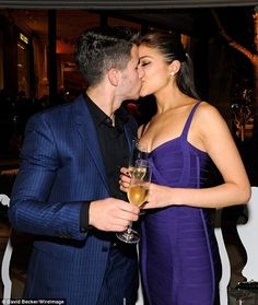 Pin for Later: 25 Ways Nick Jonas and Olivia Culpo Were Too Sexy-Beautiful They sealed them with kisses. Nick Jonas Girlfriend, New Girlfriend, Nick Jonas Olivia Culpo, Tango, Priyanka Chopra Hot, Indian Bollywood Actress, Celebrity Updates, Jonas Brothers, Couple Outfits