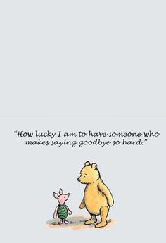 Friends and goodbyes - Winnie the Pooh