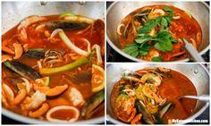 Homemade Korean spicy seafood noodle soup (Jjamppong) - Making soup 2| MyKoreanKitchen.com