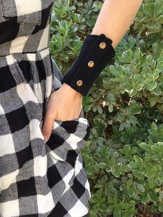 wrist wallet  black patchwork  pearl snaps  denim  by nestnebula