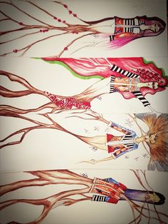 Figurini#4stagioni#primavera#estate#autunno#inverno#ciclovitale#natura#myart#. DEBORA BIANCHI ART.