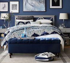 Bedroom Blue Comforter Pottery Barn 64 Ideas For 2019 White Bedspreads, Comforters, Blue Master Bedroom, Master Bathroom, Royal Bedroom, Master Bedrooms, Dream Bedroom, Master Suite, Pottery Barn Pillows