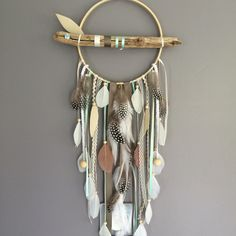 Dream catcher / dreamcatcher / dream catcher with driftwood, feathers and wood b. - Dream catcher / dreamcatcher / dream catcher with driftwood, feathers and wood beads – # - Dream Catcher Decor, Dream Catcher Mobile, Dream Catcher Boho, Feather Crafts, Feather Art, Feather Mobile, Dreamcatchers, Diy Dream Catcher Tutorial, Diy Décoration