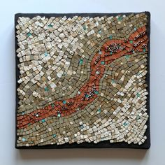 """""""Weather is not climate"""" (2015) by Julie Sperling -- stone, marble, terracotta, smalti, beads, copper wire, 10"""" x 10"""""""