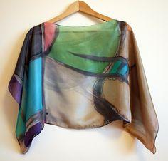 Silk blouse hand painted-Silk scarf handpainted-Wedding blouse-Scarves for her-kimono-Silk tan-grey-blue-green blouse. 43x18in (88 x 43cm) de gilbea en Etsy