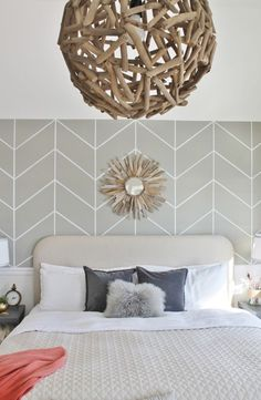 DIY rustic driftwood chandelier | lovely neutral bedroom | white cream and gray bedroom | DIY Herringbone Wall & Orb Chandelier