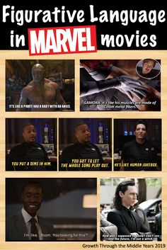 Figurative Language in Pop Culture Figurative Language in MARVEL movies Ela Classroom, English Classroom, English Teachers, Middle School Ela, Middle School English, Teaching Strategies, Teaching Writing, Teaching Literature, Writing Resources