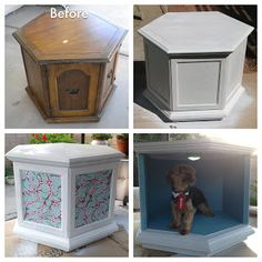 Girl on a mission: From dated table to chic dog bed/side table Coffee Table Dog Bed, End Table Dog Bed, Diy Dog Bed, Cool Dog Beds, Diy Bed, Restoring Old Furniture, Dog Furniture, Furniture Outlet, Discount Furniture